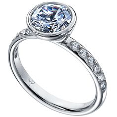 This unique engagement ring features a bezel set center stone and 12 flush set round brilliant cut weighing carats total. Available in platinum, 18 karat white, yellow or rose gold. Platinum Engagement Rings, Beautiful Engagement Rings, Perfect Engagement Ring, Antique Engagement Rings, Diamond Wedding Rings, Bridal Rings, Halo Engagement, Solitaire Rings, Solitaire Diamond