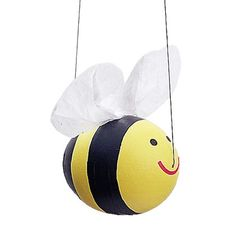 Easter Eggs: Bee Egg  With this project, kids blow an egg, then turn it into a flying wonder. All you need is a raw egg, paint, craft supplies, and fishing line for hanging the egg.