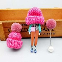 Cute set of 3 pins: girl wearing large winter cap, cap with pompom and pompom pin.Add unique element to your winter outfit! Pink Sale, Body Jewelry, Jewellery, Nose Stud, Girls Wear, Animal Design, Bracelet Patterns, Jewelry Collection, Crochet Necklace