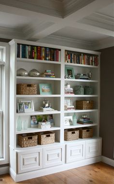 Bookshelves - The Yellow Cape Cod: Before/After Living Room Makeover~A Design Plan Comes To Life