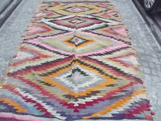 "Bohemian Home Decor Yellow Gray and Pink  Multicolor Turkish Kilim Rug, Handwoven Wool Rug 114 "" x 66  inch  Rustic Home Decor FREE SHIPPING"
