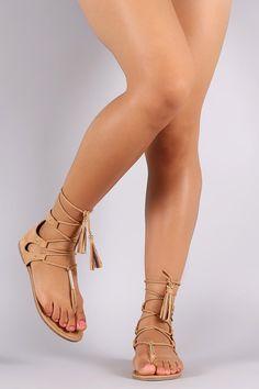 Qupid Thong Tassel Lace Up Gladiator Flat Sandal