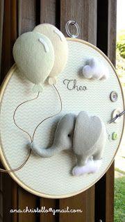 Lembrancinhas, quadros, móbiles e portas de maternidade personalizadas para o bebê. Diy Baby Gifts, Baby Crafts, Felt Crafts, Baby Shower Gifts, Diy And Crafts, Baby Kranz, Diy For Kids, Crafts For Kids, Gift Wraping