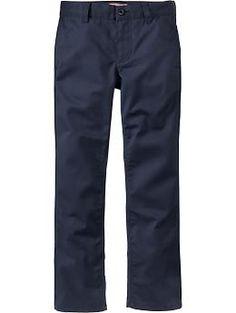 Boys Plain-Front Skinny Uniform Khakis