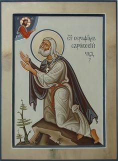Commission contemporary christian Icon of saint Seraphim of Sarov