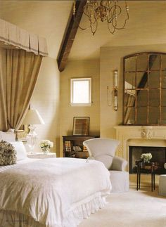 Like the mirror !!cozy bedroom with fireplace