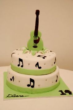 I'm swamped with cake orders this month. Well, not really, but when you have a full time job and a dad visiting, 3 big cake orders is. Music Themed Cakes, Music Cakes, Guitar Cake, Big Cakes, Piece Of Cakes, Let Them Eat Cake, Cupcake Cakes, Cupcakes, Cake Designs
