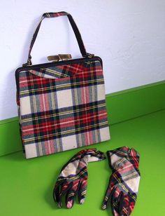 What a neat plaid couple! This is a vintage purse and glove set of classic plaid. I picked them up at an estate sale and was told they were from the