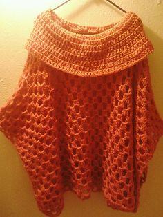 Oversized Cowl Poncho #Crochet
