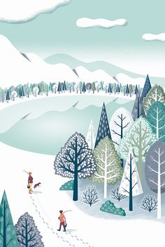 """""""Snowscape"""" illustrated by Mutsumi Kawazoe (via Behance). Illustration Noel, Winter Illustration, Christmas Illustration, Landscape Illustration, Graphic Design Illustration, Digital Illustration, Winter Pictures, Winter Art, Naive Art"""