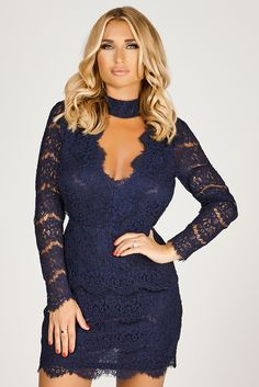 Billie Faiers Navy Lace Bodycon Choker Dress