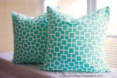 Tiffany Blue dorm Room Pillows TWO Modern by SavannahRaeDesigns