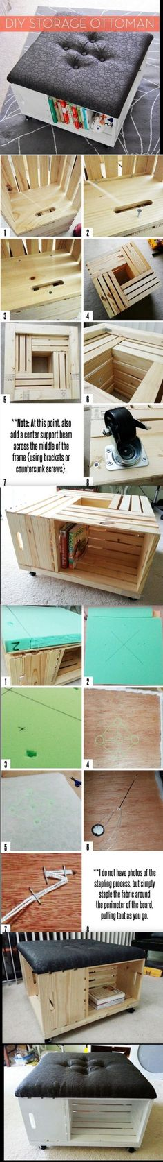 DIY Storage Ottoman with Wheels by ForgetAboutMe