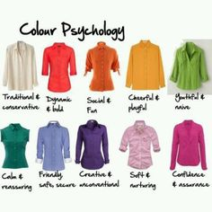 Color psychology - I think I can find something in my wardrobe in each color! @Rachel Manfredi  @Denise Golonka