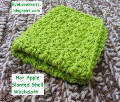 EyeLoveKnots: Robin's Egg Slanted Shell Washcloths - Free Crochet Pattern