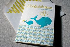 Baby Whale Letterpress Greeting Card Bamboo paper by smockpaper. , via Etsy. Baby Whale, Whale Art, Letterpress, Baby Gifts, Congratulations, Stationery, Greeting Cards, Nursery, Baby Shower