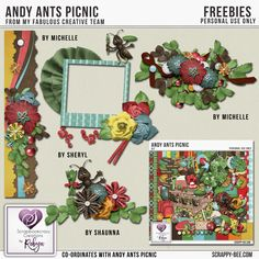 Andy Ants Picnic kit  stars a cute little ant called Andy, and includes many adorable elements to complete your picnic and outdoor layouts. To help you get started my Fabulous Creative Team have made some FREEBIES for you and they are available on my facebook fan page. https://www.facebook.com/Scrapbookcrazy-Creations-by-Robyn-958076330928872/ Also there is a co-ordinating FREE mini kit to celebrate DSD available at my newly opened store at Scrappy-Bee.com