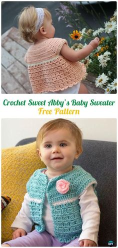 CrochetSweet Abby's Baby Sweater FreePattern - Crochet Kid's Sweater Coat Free Patterns