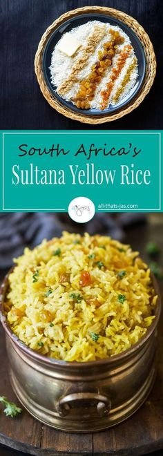 South Africa's sultana yellow rice with turmeric and curry has a fragrant, wonderful aroma and is a great accompaniment to just about any meal. | allthatsjas.com | #rice #dinner #recipe #vegetarian #traditional #sidedish #easy #delicious #raisins #goodfood