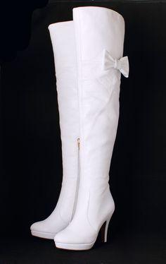 de alta con lazo blanco botas blancas de tacón alto botas altas de ...