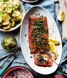 Gin-cured ocean trout with herb crust recipe :: Gourmet Traveller Trout Recipes, Seafood Recipes, Seafood Meals, Seafood Dishes, Tartare Recipe, Gin, Roasted Fennel, Potato Recipes, Dessert