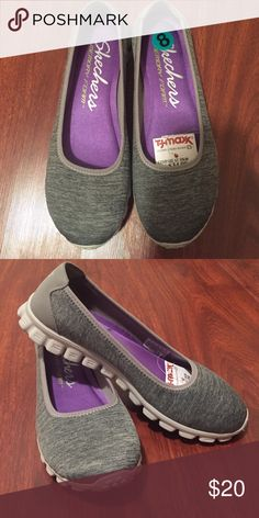 Skechers Memory Foam shoes, size 8 A pair of Skechers Memory foam shoes in a gray-white pattern, size 8. Never used. Brought them for mom but didn't fit her. Shoes Flats & Loafers