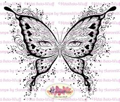 Digital Stamp - Instant Download - digistamp - Eye Butterfly - Butterfly Mask - Fantasy Line Art for Cards & Crafts by Mitzi Sato-Wiuff