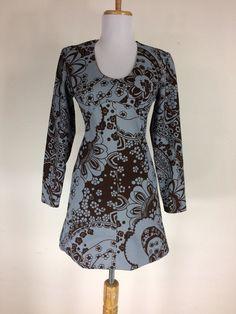 Vintage 1960s Floral Dress Blue Brown Mod Polyester V Neck Mini Go Go Size S M #Mod