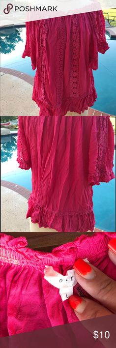 Hot pink Mexico shirt Love this shirt but runs a bit small. I am tall. Can wear off the shoulders or not. Tops Blouses