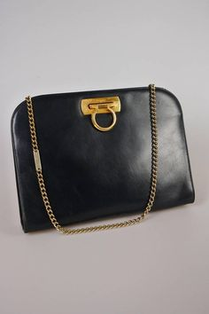 7468bd2535d3 SALVATORE FERRAGAMO vintage navy blue   black leather shoulder   crossbody  bag   clutch with chain strap