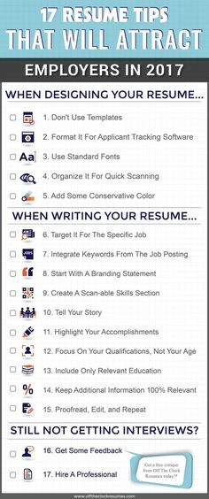 17 Resume Tips That Will Attract Employers In Infographic Off The Clock Resumes Resume Help, Job Resume, Resume Tips, Cv Tips, Resume Fonts, Resume Layout, Resume Ideas, Resume Skills, Resume 2017
