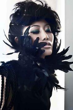 Black Scarf/Shawl - Black Feather and Lace Neckpiece/Sash