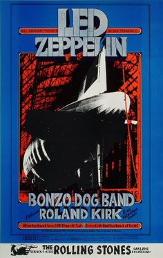 Led Zeppelin Poster - Rock posters, concert posters, and vintage posters from the Fillmore, Fillmore East, Winterland, Grande Ballroom, Armadillo World Headquarters, The Ark, The Bank, Kaleidoscope Club, Shrine Auditorium and Avalon Ballroom.