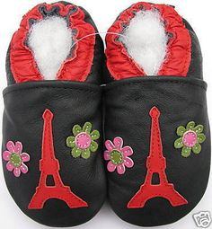carozoo Eiffel tower flower 5-6t new soft sole leather kid shoes