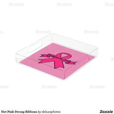 Hot Pink Strong Ribbons Square Serving Trays