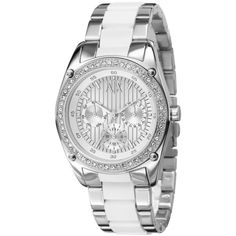 A X Armani Exchange Watch, Women'S White Silicone Wrapped Stainless Steel Bracelet 40mm Ax5033