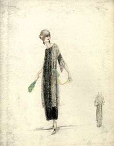 """Dress, Callot Soeurs, Spring 1919.  Black lace dress, tea length with gold lace side panels; bateau neck, elbow length sleeves with alternating bands of gold and black lace; wide teal ribbon at waist. (Bendel Collection, HB 032-19)"", 1919. Fashion sketch. Brooklyn Museum, Fashion sketches. (Photo: Brooklyn Museum, SC01.1_Bendel_Collection_HB_032-019_1919_Cheruit_SL5.jpg)"