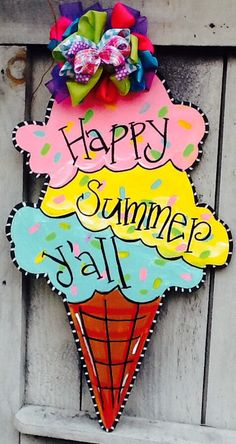 This newest summer ice cream door hanger is painted on laser wood with high quality acrylics and sealed with a shimmery finish. The bow Id made of mixed fabrics and patterns, substitutions may be made due to availability. Colors and Sayings can vary just Cross Door Hangers, Burlap Door Hangers, Wooden Door Signs, Wooden Doors, Wood Signs, Ice Cream Sign, Summer Ice Cream, Summer Signs, Spring Door