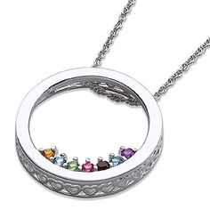 Circle necklace with grandchildren's birthstones - Adorable necklace can hold up to 10 birthstones.  You can get it in gold as well.  I love the little hearts that are all around the outside of the necklace!