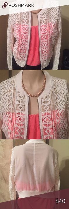 🎀JUST IN🎀 WOMEN'S HOLLISTER CROCHET ZIP UP - S🎀 🎀JUST IN🎀 BEAUTIFUL WOMEN'S HOLLISTER CROCHET ZIP UP JACKET SIZE S🎀 LONG SLEEVES 🎀OFFERS CONSIDERED🎀BUNDLE AND SAVE LOTS🎀 NEW WITHOUT TAGS 🎀 Hollister Tops Blouses