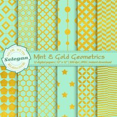"mint green decor ""Mint and Gold Geometrics"" digital scrapbook paper 12x12 printable pattern star hexagon quatrefoil background by Selegan on Etsy"