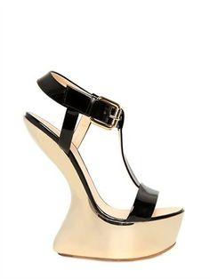 d076c43d05d8a Giuseppe Zanotti 155mm Patent Mirror Sculpture Wedges - could I walk on  these shoes