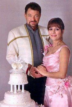 "Starfleet Wedding of Captain William Thomas Riker and Commander Counselor Deanna Troi; Alaska, Earth 2379 in ""Star Trek Nemesis"" Star Trek Enterprise, Star Trek Voyager, Star Trek 1, Star Trek Cast, Star Trek Original Series, Star Trek Series, Star Trek Wedding, Jonathan Frakes, Deanna Troi"