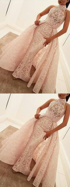 Mermaid High Neck Court Train Detachable Champagne Lace Prom Dress,YY442