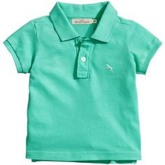 Polo Shirt $6.95 (13 BRL) ❤ liked on Polyvore featuring tops, baby boy, green polo shirts, polo shirts, h&m tops, short sleeve tops and short sleeve polo shirts