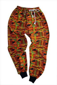 Unisex kente sweatpants with drawstring and your choice of green or black ribbed knit trimming on ankle.
