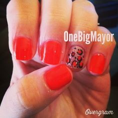 Red and Pink Leopard Nails. Valentine Nail Art.