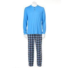 Croft & Barrow® Solid Henley & Plaid Flannel Lounge Pants Set - Men