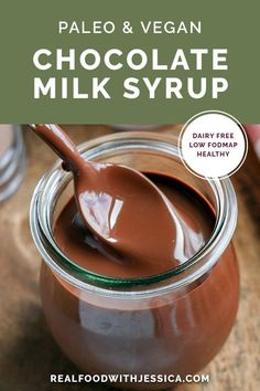 This Paleo Chocolate Milk Syrup is simple to make and so delicious. Mix with your favorite nut milk or coconut milk for a sweet treat. Dairy free, low FODMAP, vegan, and naturally sweetened. #chocolatemilksyrup #chocolatesyrup #paleo #vegan #healthy #lowfodmap #dairyfree | realfoodwithjessica.com via @realfoodwithjessica Paleo Recipes Easy, Dairy Free Recipes, Real Food Recipes, Yummy Food, Gluten Free, Chocolate Syrup Recipes, Healthy Chocolate, Vegan Chocolate Sauce Recipe, Chocolate Fudge