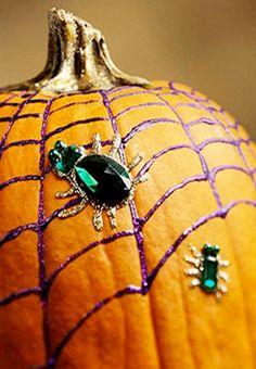 Bejeweled glitter pumpkin. fun no carve jack o lantern idea